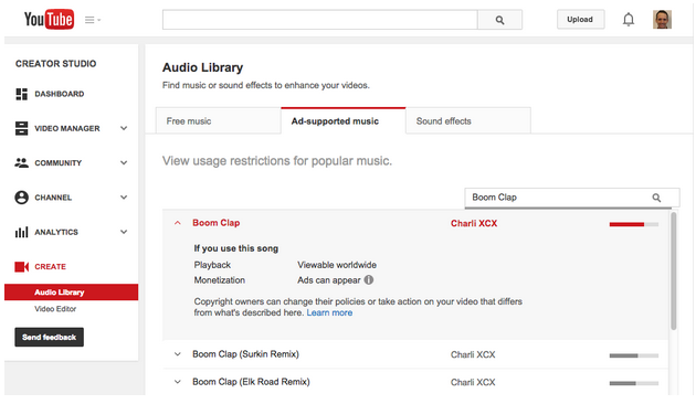 YouTube shows video creators what copyright restrictions their audio will face