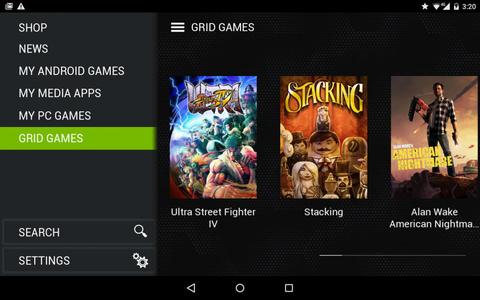 The Shield Tablet's main gaming menu.