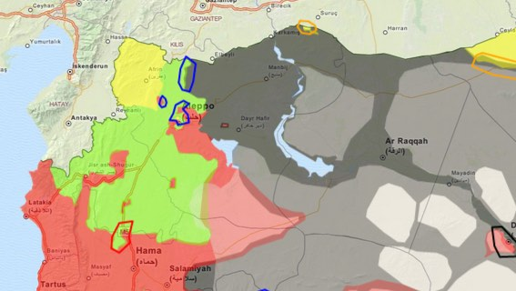 Ar Raqqah sits in the middle of the territory controlled by The Islamic State of Iraq and Syria (the gray region).