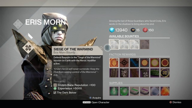 Eris Morn: purveyor of bounties and weird, oily tears.