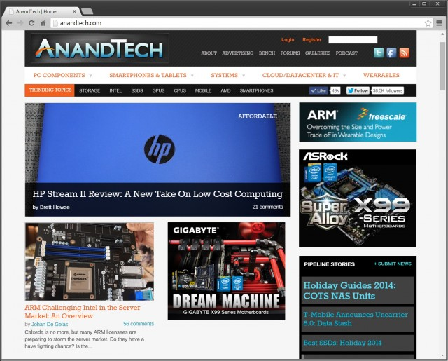 The AnandTech homepage as of December 17, 2014.