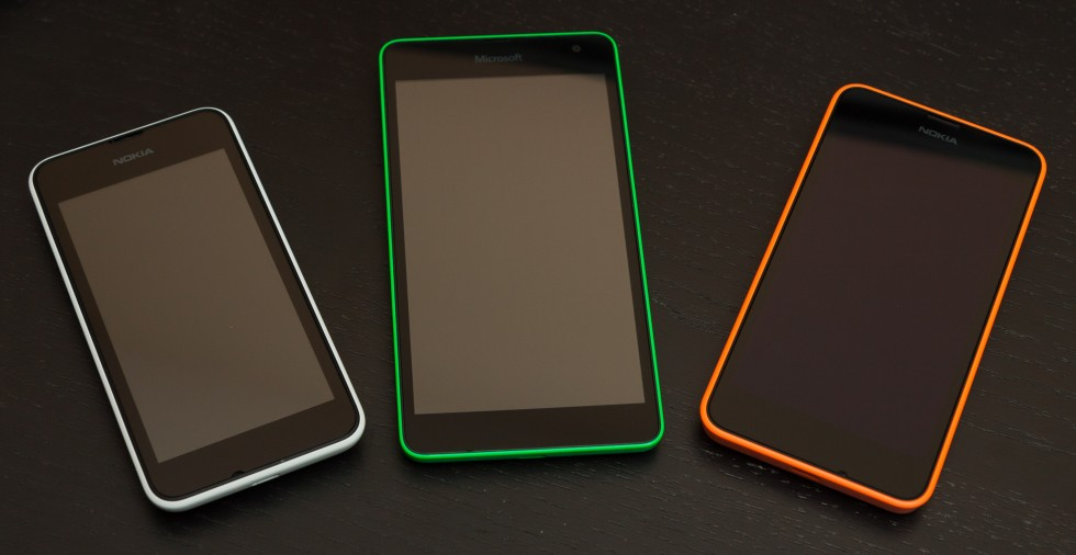 From left to right, the Lumia 530, 535, 630/635. The ClearBlack screen of the 630/635 is noticeably blacker when compared to the regular LCDs of the 530 and 535.