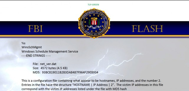Part of an FBI memo detailing destructive malware believed to have been used in the Sony Pictures cyber attack.