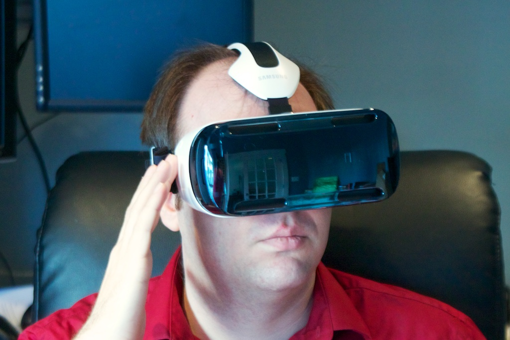 "The author shows off the current Gear VR ""Innovator Edition."""