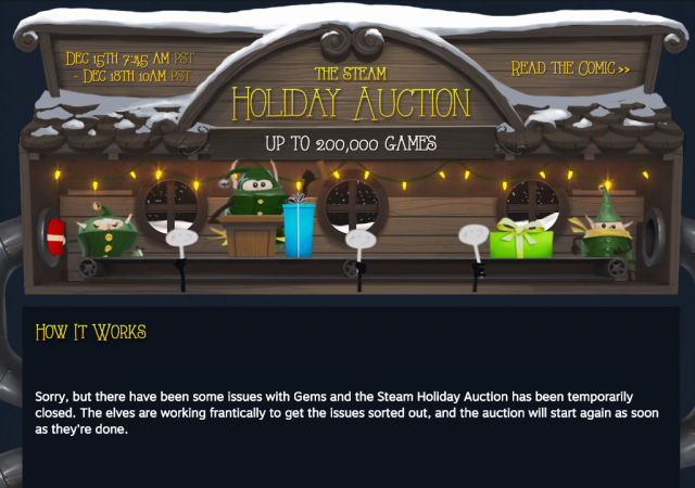 "Steam's first ""Holiday Auction"" halted after dupe bug ruins market [Updated]"