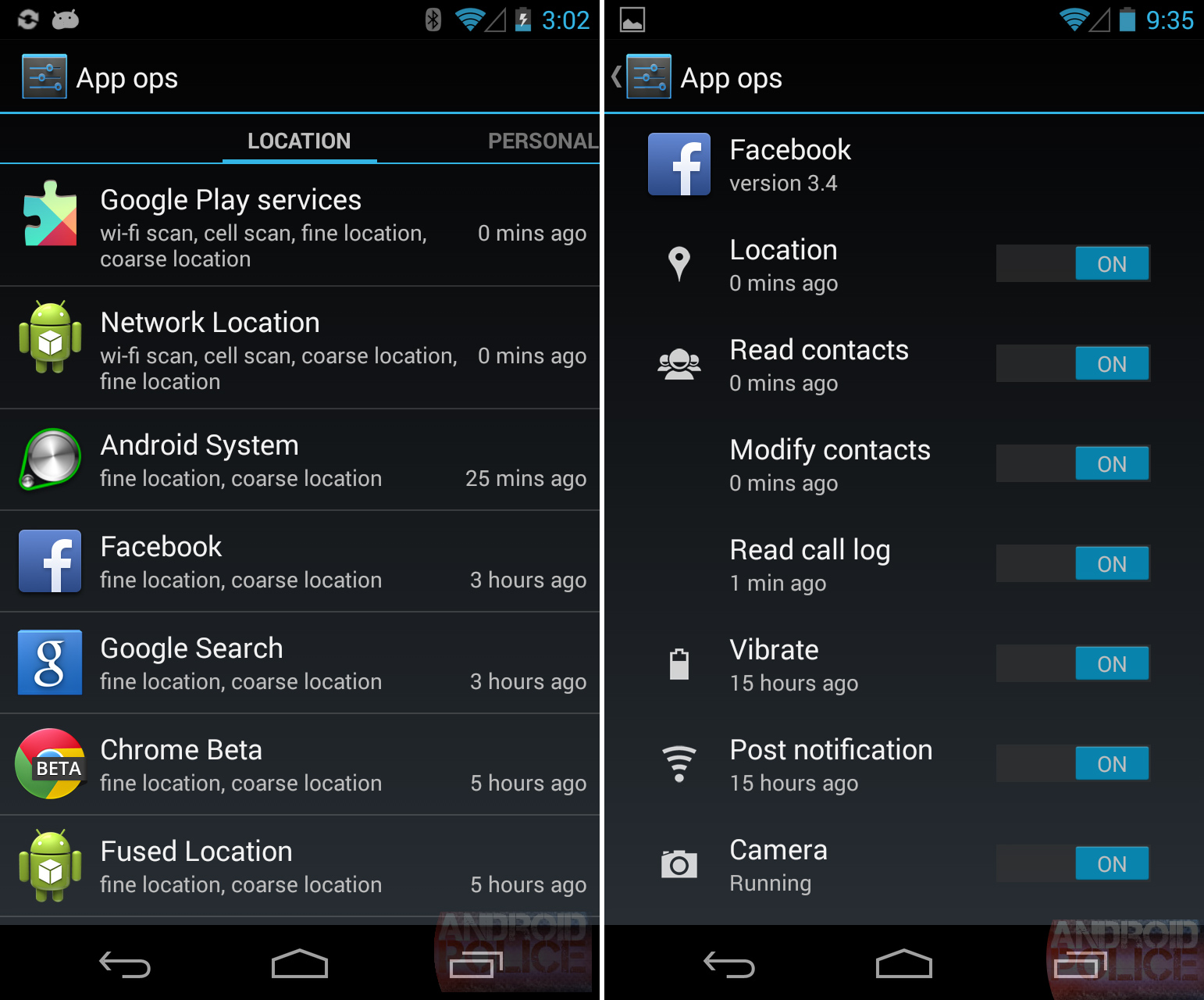 App Ops as it existed in Android 4.3.