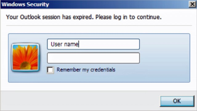 A malicious dialog that tricks high-profile targets into giving their Outlook credentials to attackers.