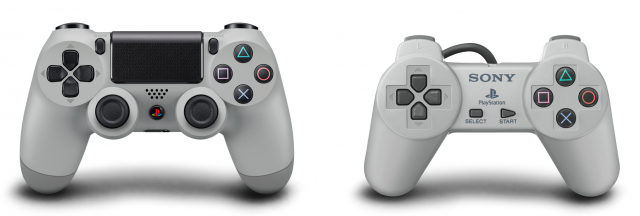 The limited edition 20th Anniversary PS4 also comes with a DualShock 4 styled after the original PlayStation controller.