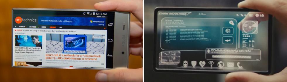 Left: The Sharp Aquos Crystal, Right: Tony Stark's phone from <em>Iron Man 2</em>.