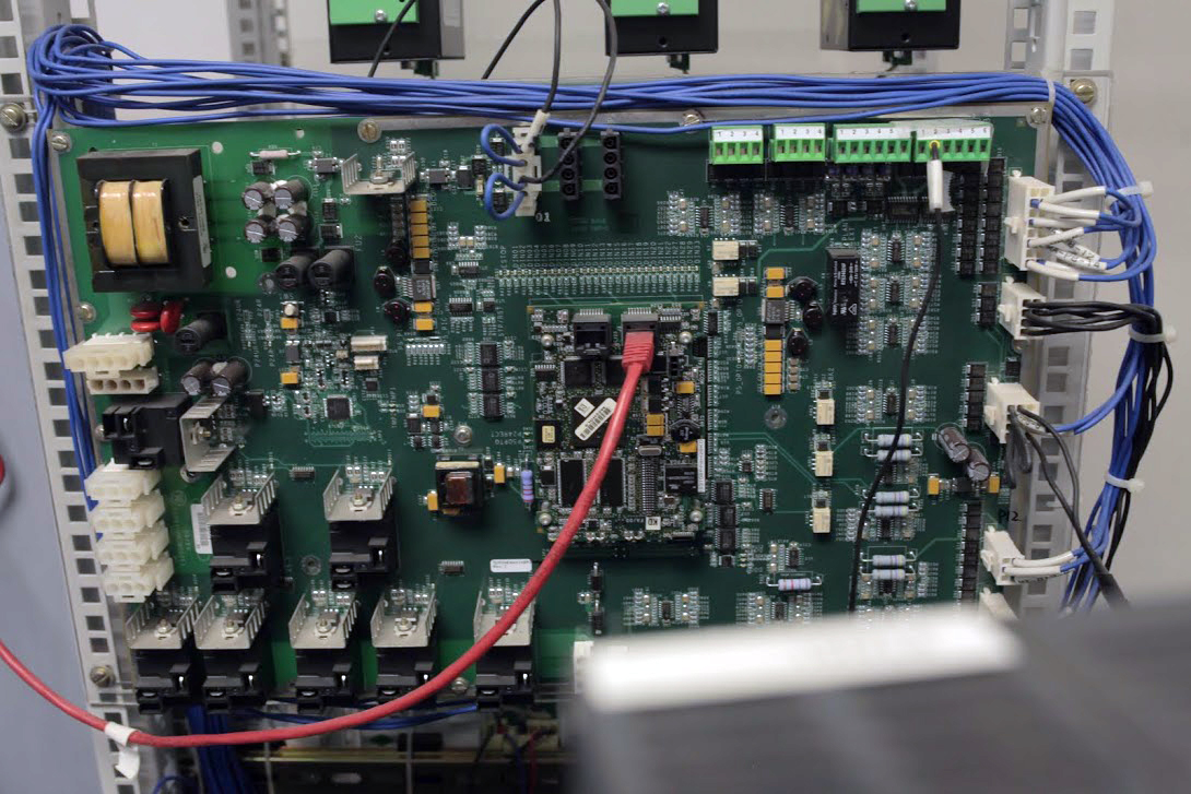 Some of the hardware that normally runs real-time control software, used for testing in GE's China Technology Center.