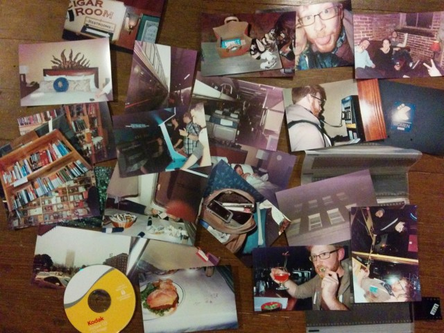 The remnants of a successful train trip to Portland with only a few disposable cameras handy.