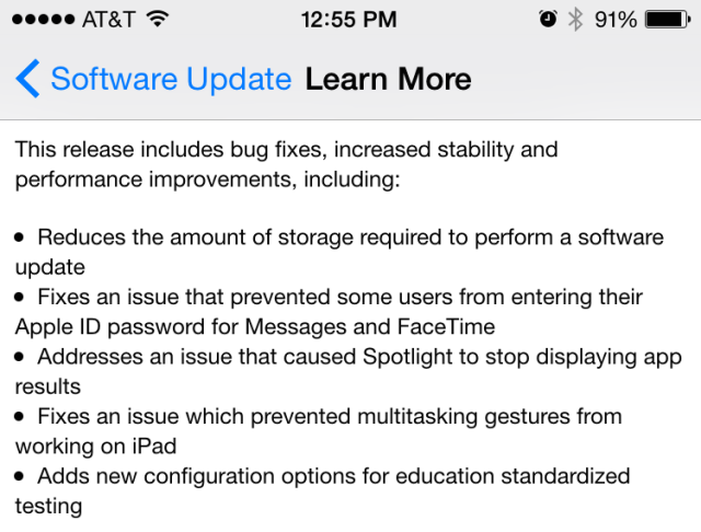 The iOS 8.1.3 patch notes.