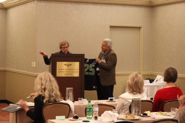 "New Jersey State Senate Majority Leader Loretta Weinberg, seen here receiving a Seattle Seahawks jersey at Wednesday's Smart Gun Symposium. ""I'm a Giants fan,"" Weinberg said, ""but they didn't do so well this year."""