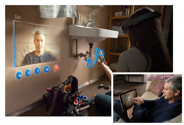 We weren't allowed to take any pictures of the HoloLens experience, and helpfully, Microsoft's image demonstrating the Skype experience shows someone changing a plumbing fixture rather than wiring up a light switch. The effect is much the same, mind you.