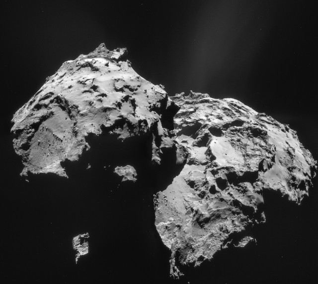 Mosaic of comet 67P/Churyumov-Gerasimenko, made from four images taken by the Rosetta spacecraft.