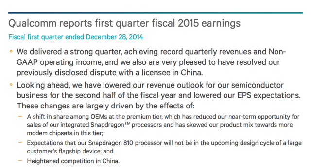 """""""A large customer's flagship device"""" won't be shipping with the Snapdragon 810."""