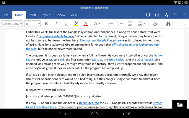 The Office for Android apps are ready to exit their preview.