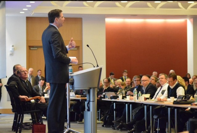 FBI Director James Comey speaks at the International Conference on Cyber Security at Fordham University on January 7.