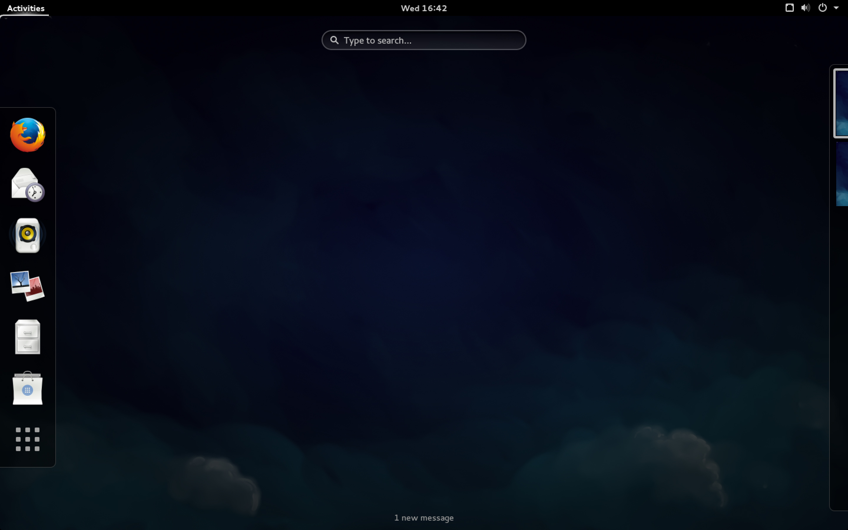 The basic GNOME Shell search screen in Fedora 21.