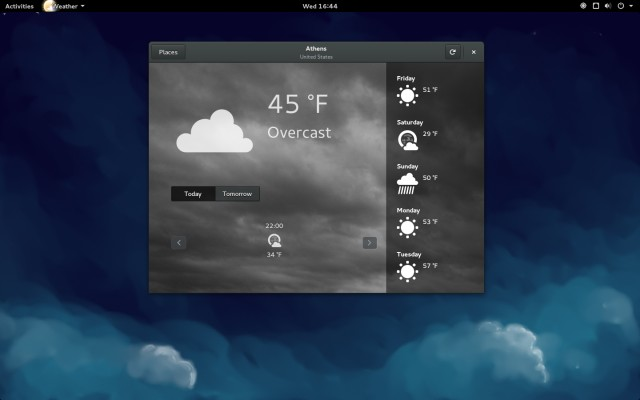 GNOME's revamped weather app with geolocation API.