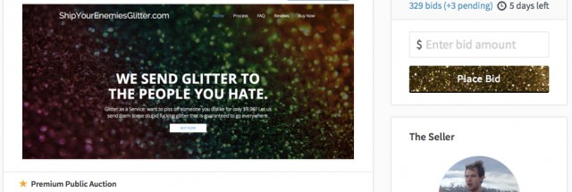 Glitterbomb startup founder looks to cash out, puts site up