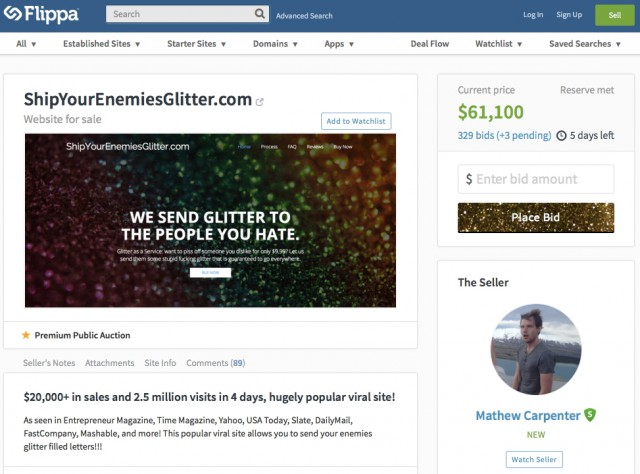 Glitterbomb startup founder looks to cash out, puts site up for auction