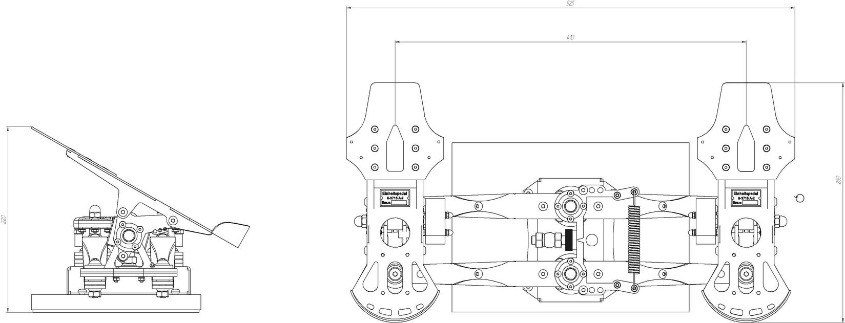 Design plan for the Slaw Device pedals, showing dimensions.