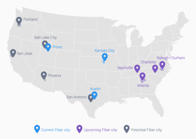 Google Fiber confirmed for four new metro areas, 18 cities ... on rcn availability map, sprint availability map, netflix availability map, cox availability map, cablevision availability map, fiber optic availability map, 4g availability map, centurylink availability map, mediacom availability map,