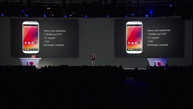 Hugo Barra introducing the Galaxy S4 Google Play edition at Google I/O 2013. This was just seconds before he announced the price and lost the audience's interest.