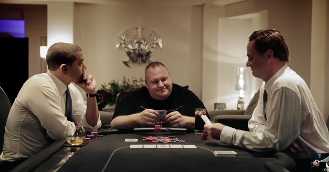 In 2014, Kim Dotcom hired actors to impersonate President Barack Obama (left) and Prime Minister John Key (right) in a promo video for his Internet Party.