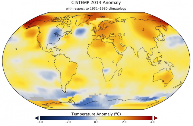 NASA's 2014 map of average annual temperatures above or below the 1951-1980 average.