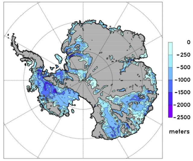 Map showing portions of Antarctica's land surface that are actually below sea level, which makes the glacial ice there (which is much too thick to float) more vulnerable to retreat.