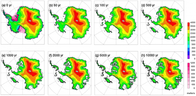 Results after the change to warmer conditions in the model. The rainbow color scale shows the elevation of the ice surface on land, while the pink scale shows thickness of floating ice.