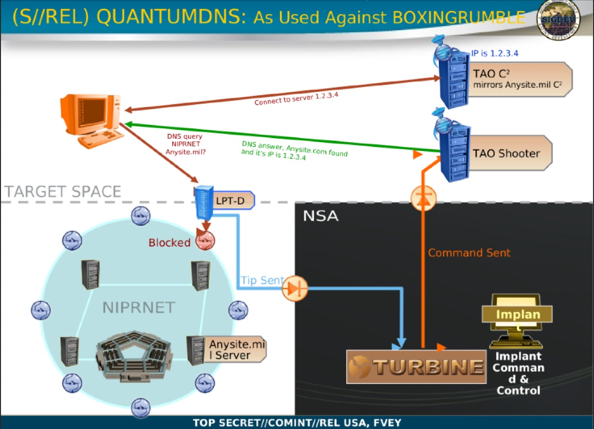 Using QuantumDNS, a DNS injection attack against botnet traffic, the NSA was able to make infected PCs believe its server was part of the command and control network.