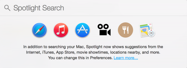 Spotlight search in OS X Yosemite exposes private user details to spammers