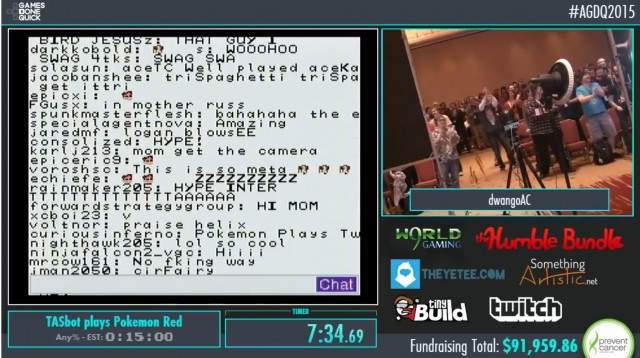 The crowd in the AGDQ ballroom broke into a standing ovation when the IRC hack started up.