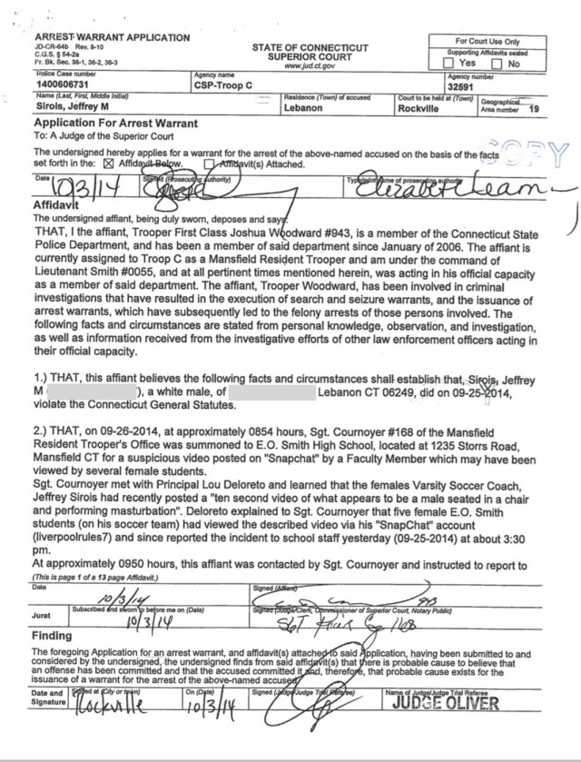 The first page of the Sirois arrest warrant.