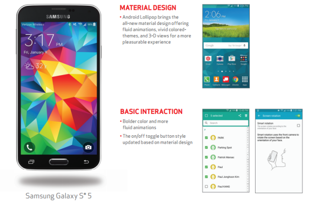 Android 5.0 Lollipop comes to the Verizon Samsung Galaxy S5