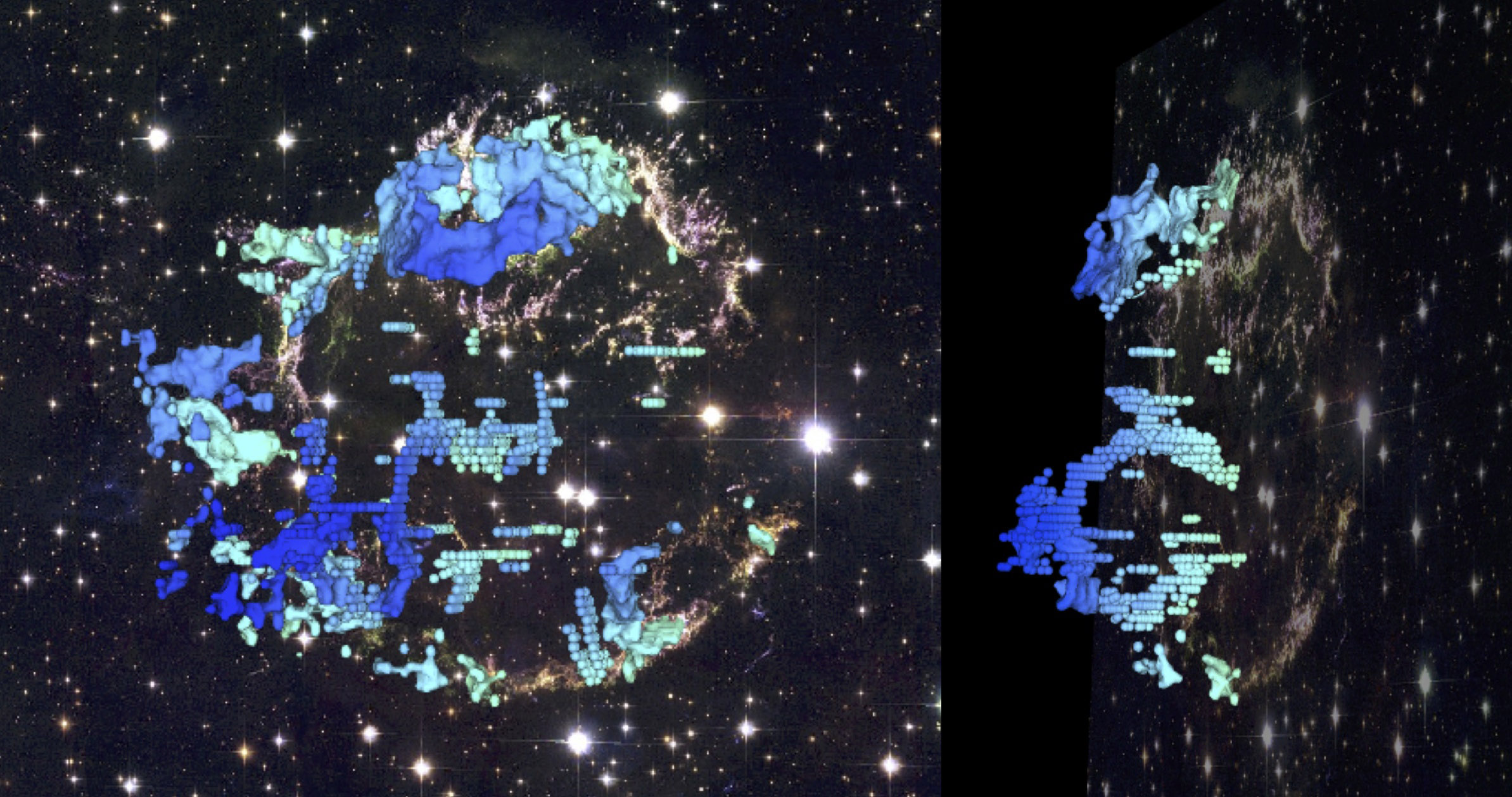 Two different perspectives of the 3-d reconstruction of Cassiopeia A, overlaid on a Hubble composite image of Cas A. The blue-to-red colors on the 3-d map indicate the relative speeds of the gas along our line of sight.