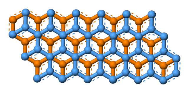 Two stacked layers of graphite, showing the hexagonal bonds between carbon atoms.