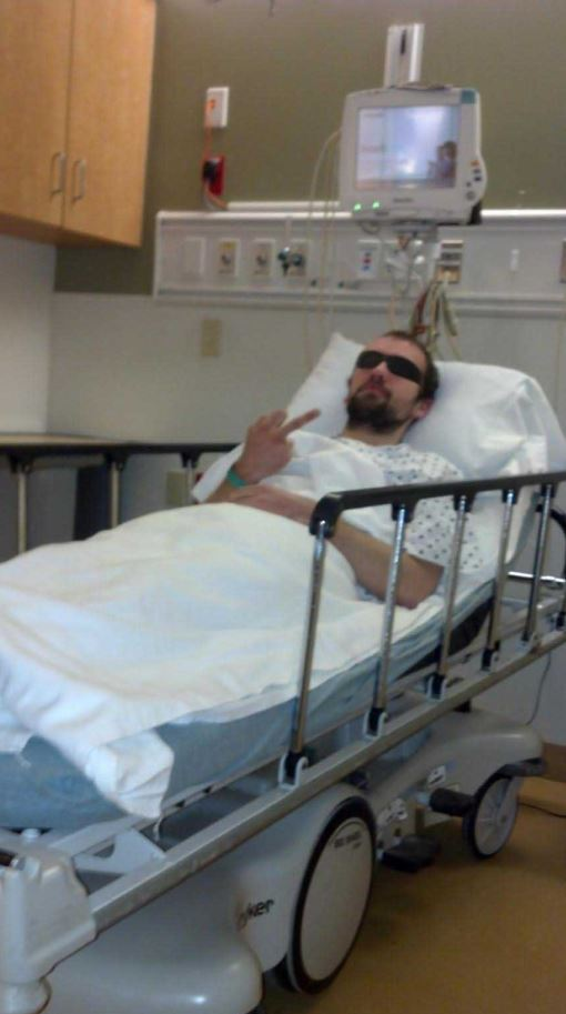 "Jan Rankowski, posing here as the character Jace Connors. He has now admitted that everything about that GamerGate-loving character—including the injury-related premise of this photo—was a ""joke."""