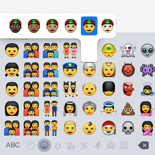 The iOS 8.3 and OS X 10.10.3 emoji pickers now support multiple skin tones.