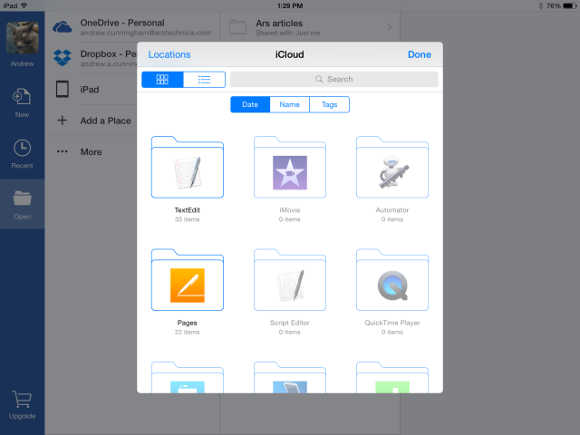 Office for iOS now supports iCloud Drive and other cloud storage providers.