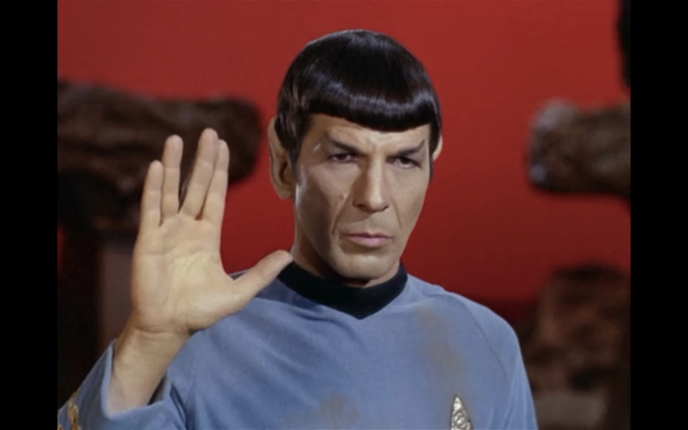 "In ""Amok Time,"" Spock is made to believe that he has killed Captain James Kirk. So when T'Pau responds ""Live long and prosper, Spock,"" he replies: ""I shall do neither. I have killed my captain and my friend."""