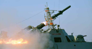 The new anti-ship missile being launched from the new North Korean SES during testing this weekend.