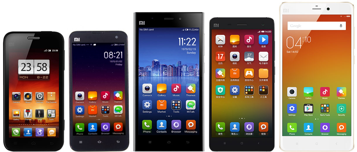 Xiaomi throughout the years—the Mi 1, Mi 2, Mi 3, Mi 4, and the Mi Note.
