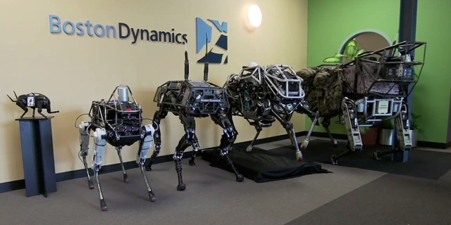 Boston Dynamics robots, from left to right: Little Dog (on pedestal), Spot, BigDog, WildCat, and LS3.
