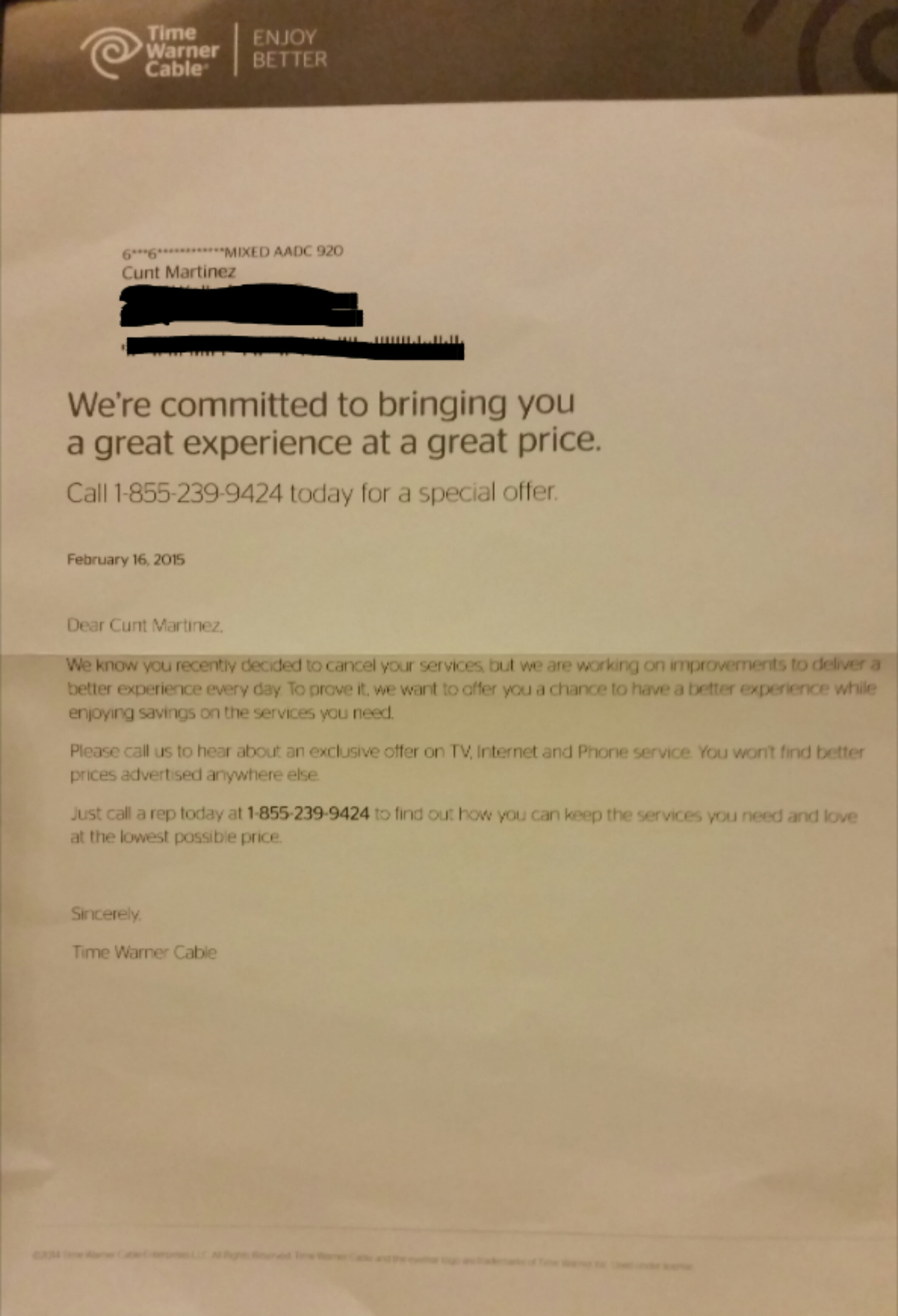 Time Warner Cable Calls Customer C T After She Reports Cable