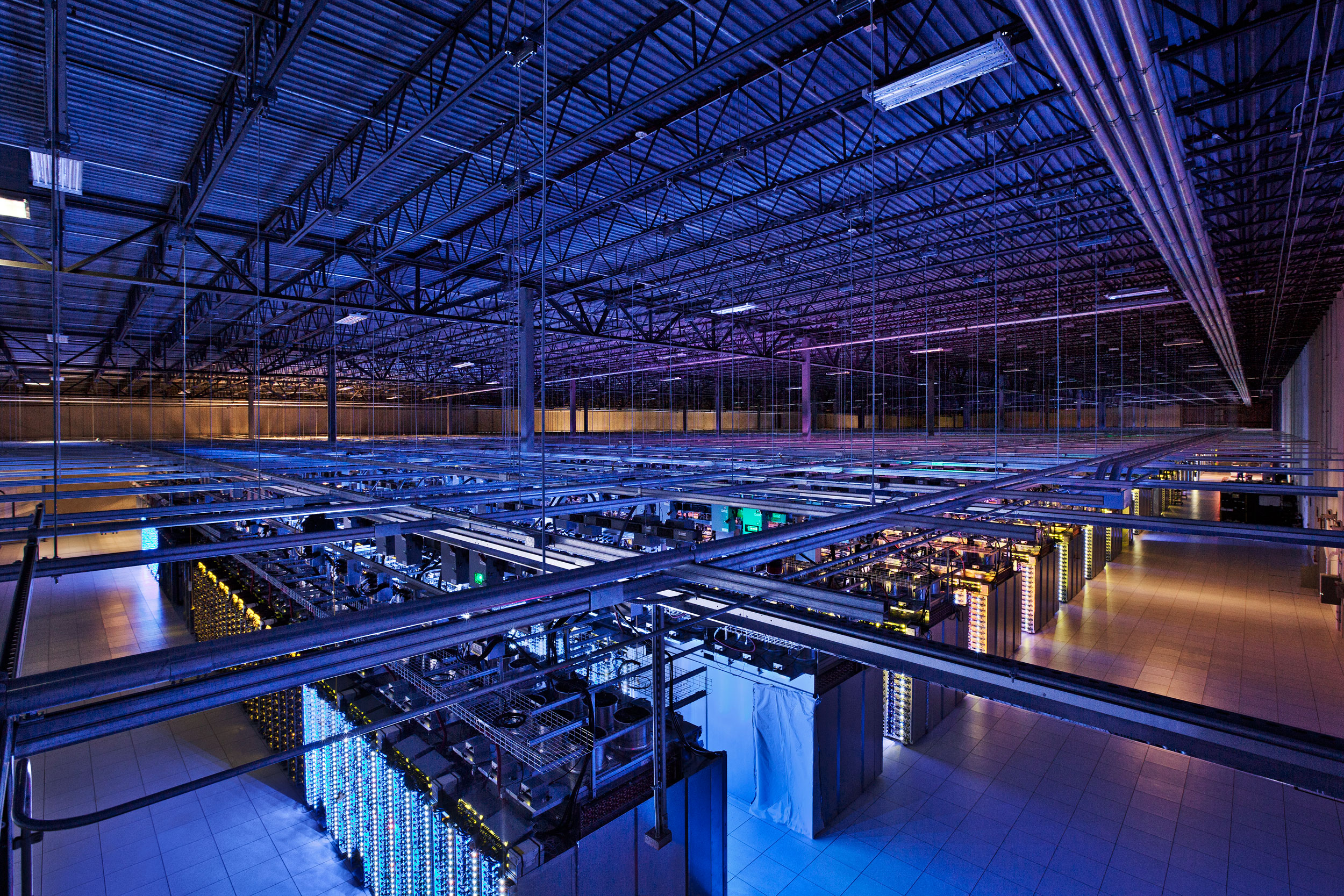 "Inside one of Google's massive data centers—if you want to see one picture of the hardware side of ""big data,"" this is it."