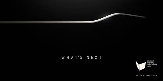 """Samsung's """"Galaxy Unpacked"""" invite for Mobile World Congress, showing the edge of a curved phone."""